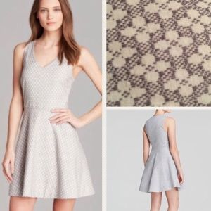 JOIE NORTON FIT AND FLARE DRESS L GRAY WHITE